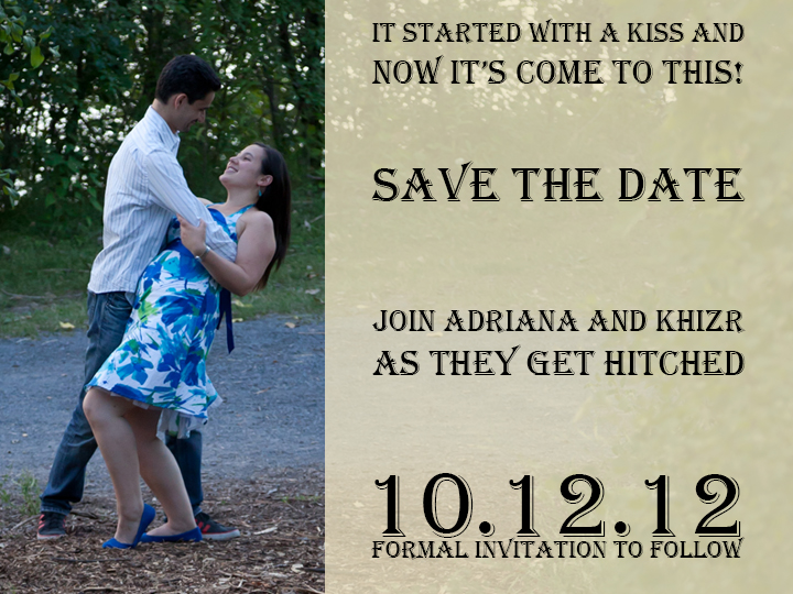 Example of Save the date card