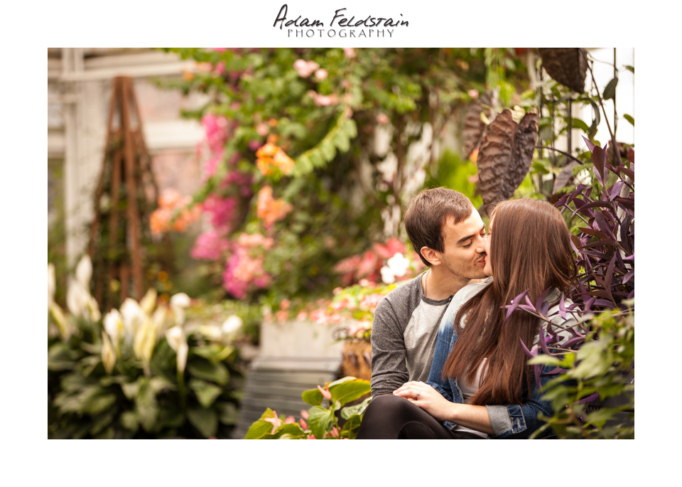 indoor engagement shoot in botanical gardens
