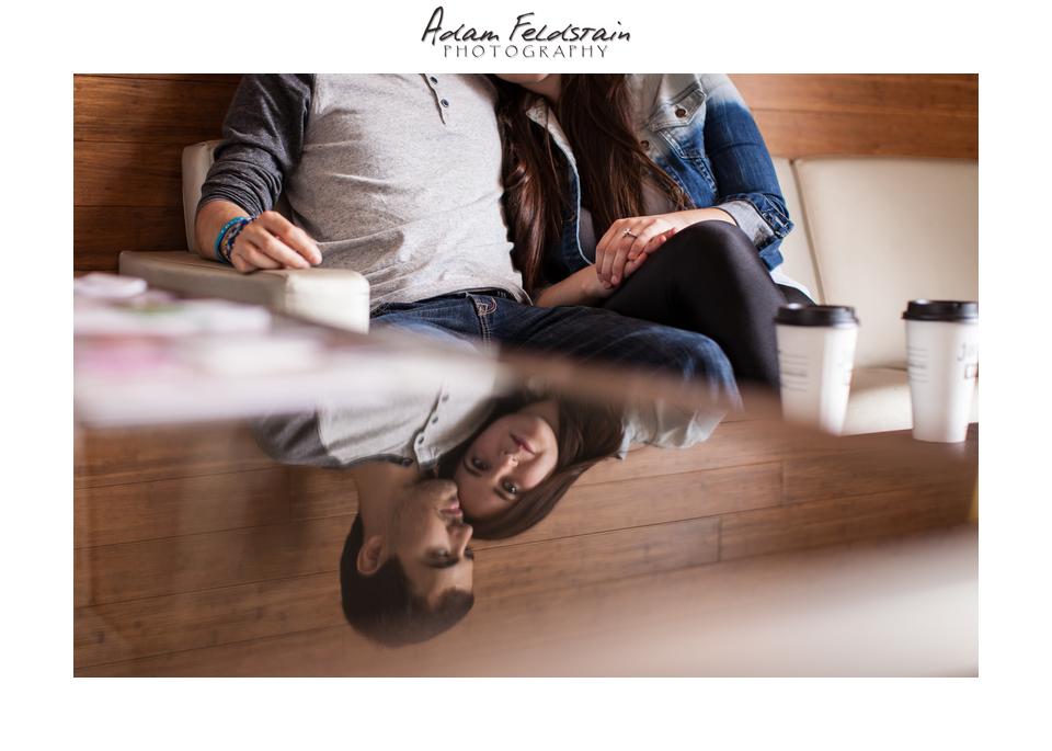 Indoor engagement shoot in coffee shop